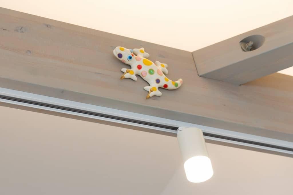 Cafe CHOU CHOU内観3 カラフルなヤモリが梁にへばりついている写真