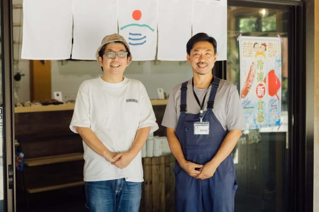 オンガタ銀座商店会会長 門脇大輔さん(左)